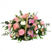Pink basket arrangement
